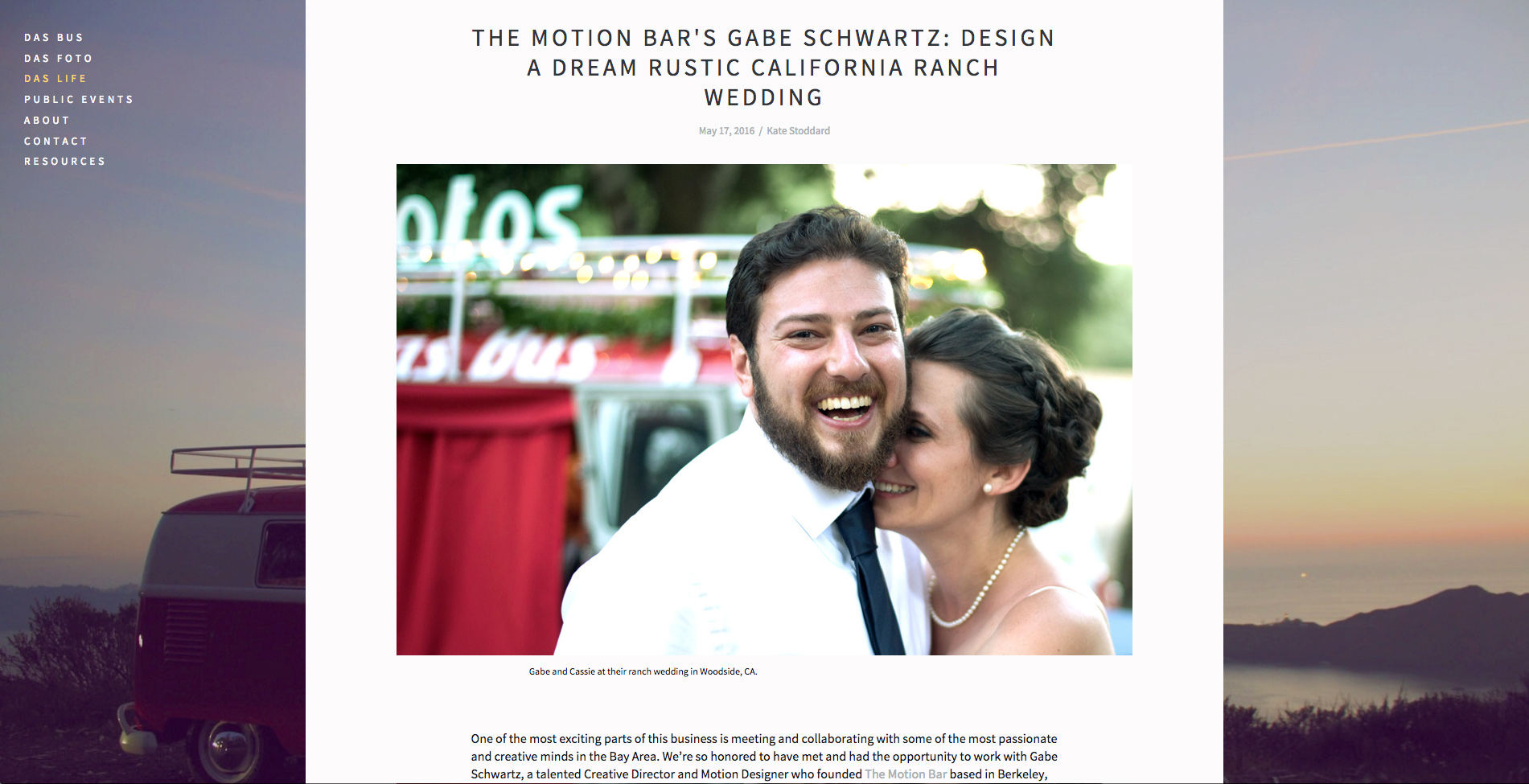 The Motion Bar TMB Das Bus Blog Interview and Write up Dream rustic california wedding